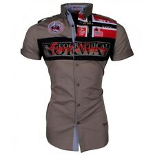 GEOGRAPHICAL NORWAY Uomo Men Anapurna Camicia Zyer Shirt camiciotto taupe
