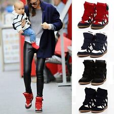 Womens Velcro Strap High Top Wedge Hidden Heels Ankle Boots Sneaker ladies Shoes