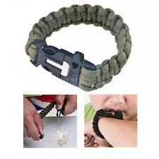 Survival Paracord Emergency Bracelet Rope Flint Fire Scraper Whistle Gear Kit