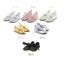 New Girls Gold Ivory Pink Silver White Ballet Style Dress Shoes Kids Baby Youth