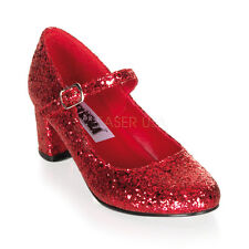 Red Glitter Ruby Slippers Dorothy Wizard of Oz Costume Heels Shoes 6 7 8 9 10 11