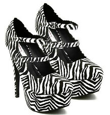 Qupid Double Straps Animal Print Mary Jane Pumps High Heel Women's Shoes