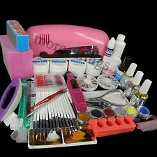 All in One 9W UV Gel Lamp Electric Drill 6 Bits Nail Art Polish TIPS SET KIT