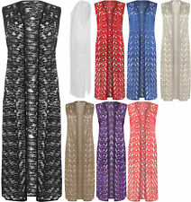 New Womens Plus Size Floral Lace Open Long Sleeveless Top Ladies Cardigan 14-28