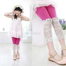 Children Kids Girl Summer Modal Lace Bow Tight Leggings Cropped Pants S-XL A51