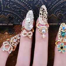 Chic Fashion Crown Crystal Finger Nail Art Ring Jewelry Nail Art Finger Rings