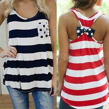 New Womens Summer Stripes Vest Top Sleeveless Blouse Casual Tank Tops T-Shirts