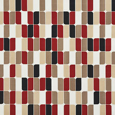 A275 Red/ Black and Beige Abstract Outdoor Print Upholstery Fabric