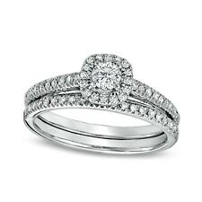 Sterling Silver Wedding set size 7 CZ Round cut Engagement Ring Bridal New z22