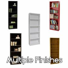 Bookcase 5 Shelf White Storage Bookshelf Wood Furniture Adjustable Book Shelving