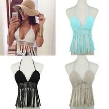 Chic Women Knit Crochet Tassel Sleeveless V Neck Tank Blouse T-Shirt Crop Top SP