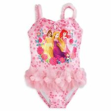 Disney Store Princess Ariel Rapunzel Belle One Piece Deluxe Swimsuit Girl 5/6
