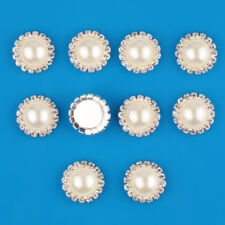 10 Pcs Bling Rhinestone Ivory Pearl Silver Tone Shank Round Button Sewing Craft