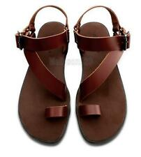 Men's Casual roma gladiator toe ring leather strap flip flops beach sandal new