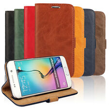 Grain Leather Credit Card Stand Wallet Case Cover For Samsung S3 S4 S5 S6 Note 4