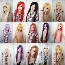 Fashion Womens Multicolor Long Straight Wig Anime Cosplay Party Wigs 100cm/39""