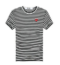 STRIPE COMME Des GARCONS CDG PLAY RED HEART MENS WOMENS SHORT SLEEVE T-SHIRT TEE