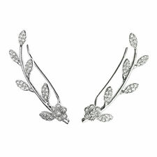 925 Sterling Silver Daisy Flower CZ Crystal French Hook Ear Cuff Wrap Earring