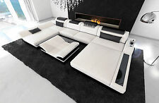 Big Sectional Sofa MONZA U-Shaped with LED Lights white black