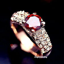 Antique Rose Gold Plated Red Ruby Swarovski Crystal Women's Engagement Ring R75