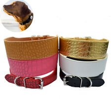 2 Inch Width Croc Leather Dog Collar Medium Size Collars For Large Dogs Pitbulls