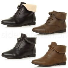 WOMENS LADIES LOW HEEL FLAT LACE UP FOLD OVER CUFF VINTAGE PIXIE ANKLE BOOTS