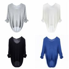 Lady Sweater Loose Knitted Pullover Jumper Crewneck Long Sleeve Knitwear Top W42