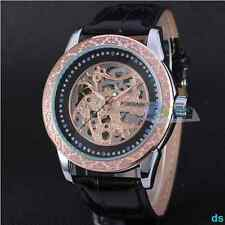 Mens Skeleton Transparent Automatic Alloy Case Leather Band Sport Wrist Watch