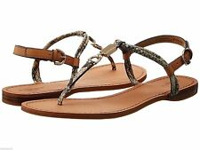 New COACH Charleen Flats Leather T-strap Snakeskin Natural Thong Sandals 5.5 9.5
