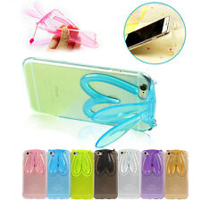 Cute Rabbit Ears Stand Cover Crystal Soft TPU Silicone Case Fo Phones+Neck Strap