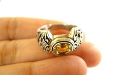 Yellow Citrine Ornate 18K Gold Vermeil 925 Sterling Silver Ring Sz 6 7 8 9 nwt