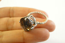Brown Smoky Quartz Solitaire Ornate Twisted 925 Sterling Silver Ring Sz 6 7 8