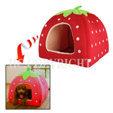 Soft Lovely Strawberry Pet Igloo Dog Cat Bed House Kennel Doggy With Cushion Pad