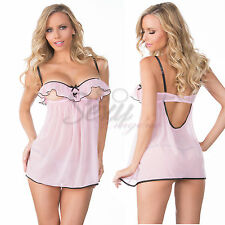 Sexy Womens Romantic S Size Mesh Ruffle Peek-A-Boo Cup Babydoll Lingerie