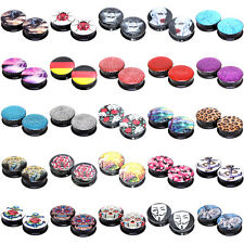 """25 Hot Styles"" 26mm Image Acrylic Screw Fit Flesh Tunnels Black Ear Plugs"
