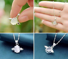 Fashion woman's lady 18KGP Silver plated angel wings opal necklace