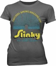 Juniors Slinky Spring Walking Toy It's Fun for a Girl and Boy Gray T-Shirt Tee