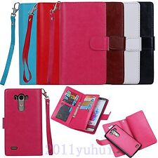 For LG G3/G4 Multifunctional Leather Wallet+ Card Pouch+ Phone Back Case Cover