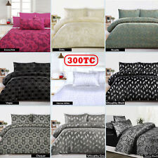 3 Pce Jacquard 300TC Quilt Doona Duvet Cover Set by Accessorize - QUEEN KING