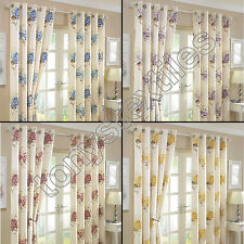 VINTAGE FLORAL FULLY LINED EYELET RING TOP CURTAINS CREAM PINK BLUE GOLD PURPLE