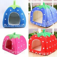 Soft Strawberry Pet Igloo Dog Cat Bed House Kennel Doggy Puppy Cushion Pad S M L
