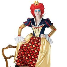 Womens Disney Red Queen of Hearts Costume Alice In Wonderland Fancy Dress Outfit