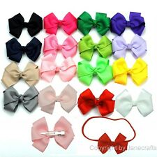 "16x 3"" Boutique Grosgrain Ribbon Girls Baby Hair Bow Clip Headband Mix 16 Colors"