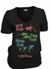 Classic Dr Seuss One Fish Two Fish V-Neck Charcoal Black Juniors T-shirt Tee