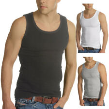 Mens Raiken 3 Pack Ribbed Slim Fit Sleeveless Cotton Gym Vest Tank Top Size