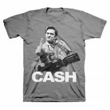 Classic Music Johnny Cash Flipping the Bird Finger Adult Charcoal Gray T-shirt