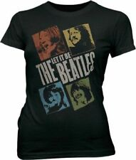 Junk Food Classic Rock The Beatles Photo Blocks Black Wash Juniors T-Shirt Tee