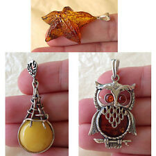 BALTIC AMBER & STERLING SILVER OWL TEARDROP or CARVED STARFISH HANDMADE PENDANT