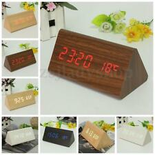 Triangular Wooden Wood Digital Time Thermometer Alarm Desk Clock USB/AAA DC 5V
