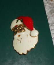 "VINTAGE Gold Face SANTA CLAUS Head CHRISTMAS Holiday PIN Brooch 1.5"" [B40]"